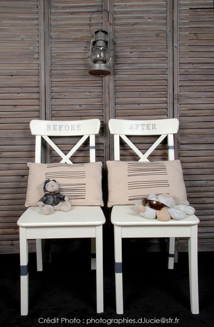 """Un """"Esprit CASUAL"""" pour ce duo de chaises relookées. ... vendues ... L'Atelier de RG (créatrice d'ambiance, Ateliers DIY)"""