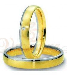 Βέρες γάμου δίχρωμες με διαμάντι Breuning 4053-4054