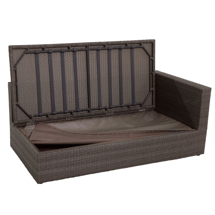 Good Nelson 4 Piece Patio Wicker Woven Sectional Set With Cushion Storage