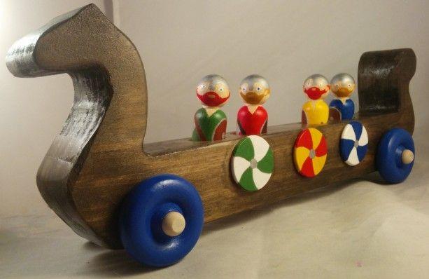 Toy Viking Longship Handmade Wooden Longboat Dragon Ship