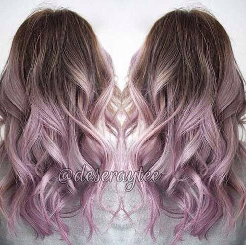 Brunette to lilac ombré