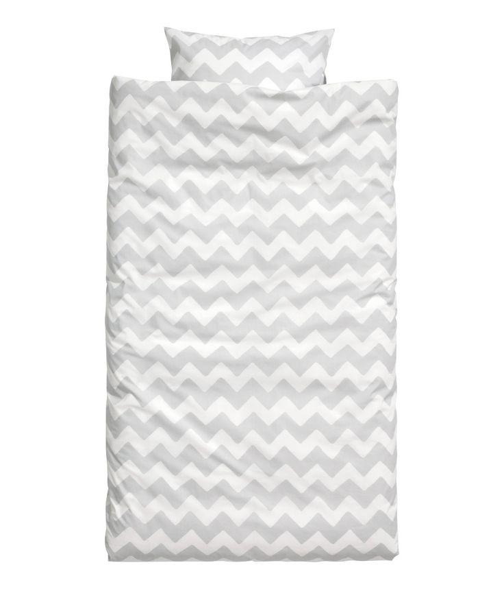 Zik-zak mønstret sengesett | Hvit/Lys grå | Home | H&M NO