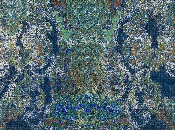 I strati delicati ed i dettagli elaborati sono astutamente posizionati per creare un'interessante damasco marocchino stampato in digitale sulla carta in vinile con effetti in rilievo. Carta da parati in vinile con effetto in rilievo Tessuti e carte da parati dal design esclusivo, Tessuti per tappezzeria