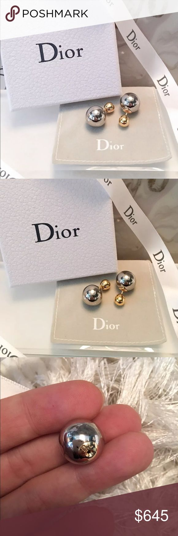 DIOR Tribal Two Tone Gold Silver Ball Earrings Authentic DIOR Mis En Dior Tribale Double Ball Tribal Earrings. These are so great for dressing up or every day. Light weight so they will not hold down your ears.  Gold and silver contrasting balls. Dior engraving inside. Celebrity Favorite!  Excellent condition!! Comes with box and duster, not the ribbon.  Excellent condition.  100% authentic guarantee (have already been authenticated by Authenticate First). Dior Jewelry Earrings