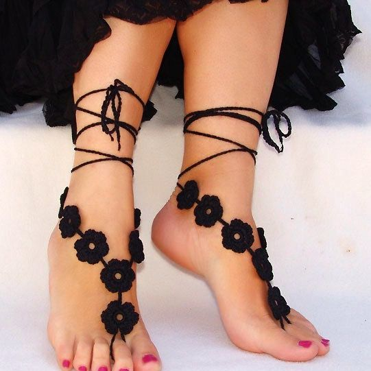 Barefoot Sandals. Love the black flowers.