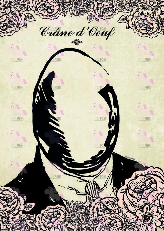 """Carte postale """"Crâne d'oeuf"""", personnalisée à la main, unique"""
