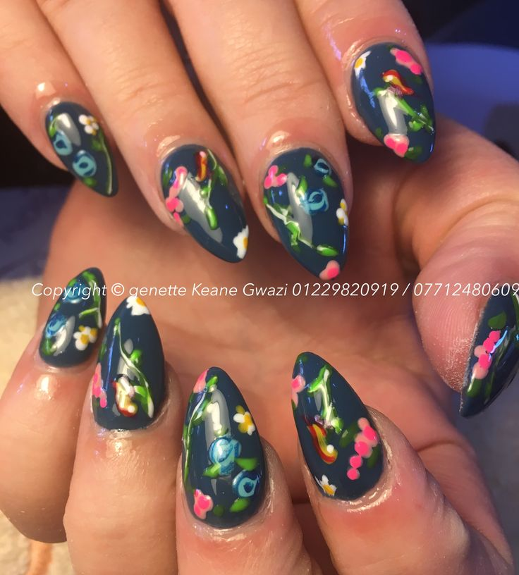 Flowers and birds hand painted acrylic nails with nail art.