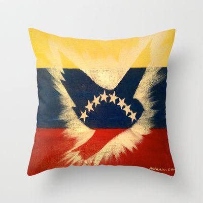 ThePeaceBombs - It's a Good Day for Peace Throw Pillow by ThePeaceBombs - $20.00 #pillows #art #artwork #shopping #home #decor #venezuela #flags  http://society6.com/ThePeaceBombs www.miaaw.com https://www.facebook.com/marishags