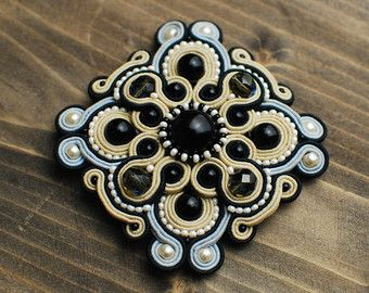 Soutache brooch crown Soutache jewelry Hand embroidered brooch soutache Royal…