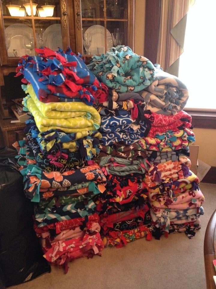Beautiful blankets made by Carlynton National Junior Honor Society students