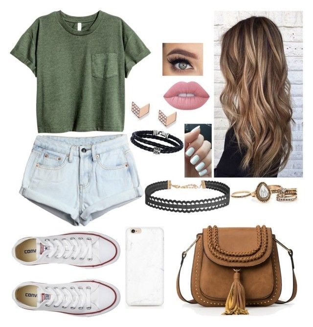 """""""Untitled #69"""" by bubblegumprincess831 on Polyvore featuring WithChic, Converse, Lime Crime, FOSSIL, Phillip Gavriel and Humble Chic"""