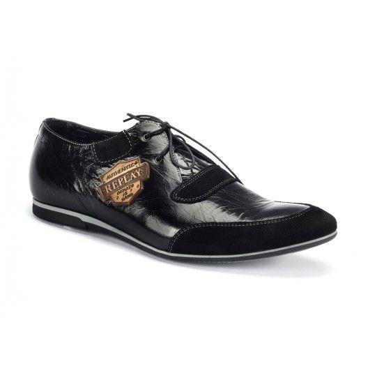 Pánske športové kožené topánky čiernej farby COMODO E SANO - fashionday.eu