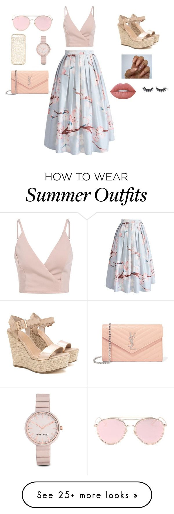 """""""Summer/spring outfit"""" by anyston on Polyvore featuring Chicwish, Yves Saint Laurent, Nine West, Lime Crime, Violet Voss and LMNT"""