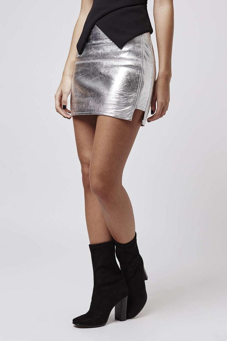 This silver leather mini skirt by Kendall and Kylie for Topshop will get you party ready in an instant. #Topshop