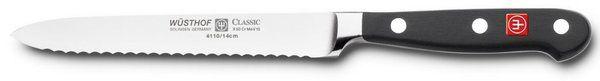 "Wusthof Classic 4110 Serrated Utility Knife (Sausage knife ) 14 cm 5"""""