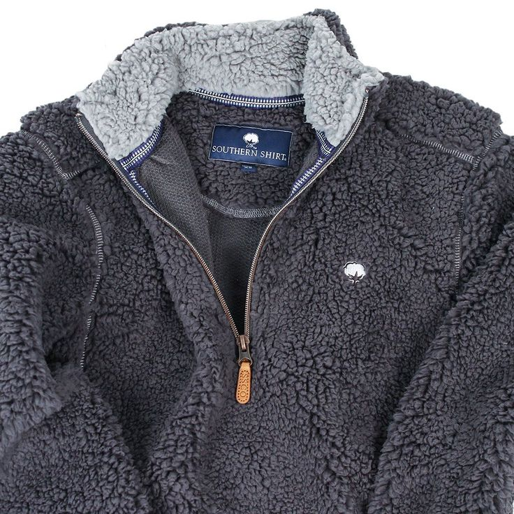 Quarter Zip Sherpa Pullover in Magnet Grey by The Southern Shirt Co.  - 3