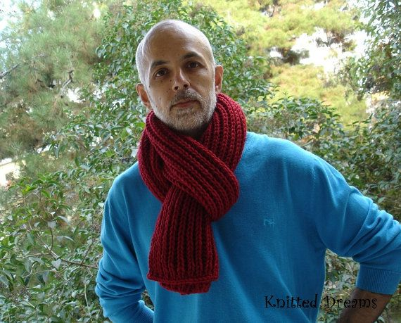 Handknitted red bulk long scarf for men and women. by tatocka, $50.00
