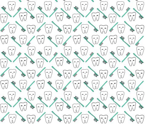 Happy Teeth - White and Light Jade by Andrea Lauren fabric by andrea_lauren on Spoonflower - custom fabric