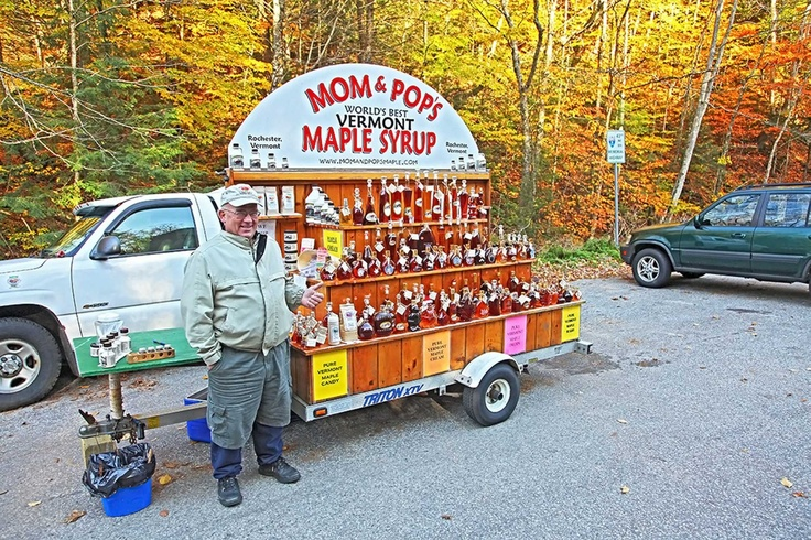 Fall in Rochester Vermont - This man's wife makes some of the best homemade whoopie pies in the Northeast! Their pure maple syrup is pretty awesome too! ;)  He parks his little caravan along the road every day and sells their maple products. They'll also ship them to you, if you go to their website and place an order. Here's the link: http://www.momandpopsmaple.com/index.php