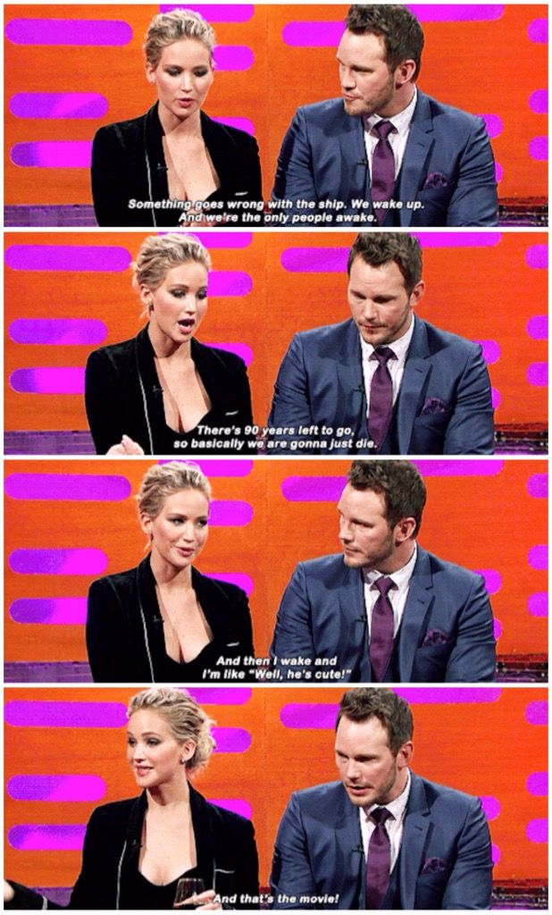 "Jennifer Lawrence explaining ""Passengers"" :D"