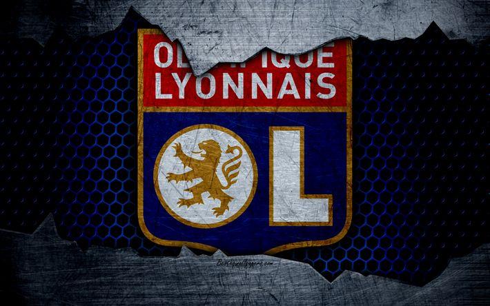 Descargar fondos de pantalla Lyon, 4k, la Liga 1, el logotipo, el grunge, el Olympique Lyonnais, fútbol, club de fútbol, de metal textura, la Ligue 1, el arte, la FC Lyon