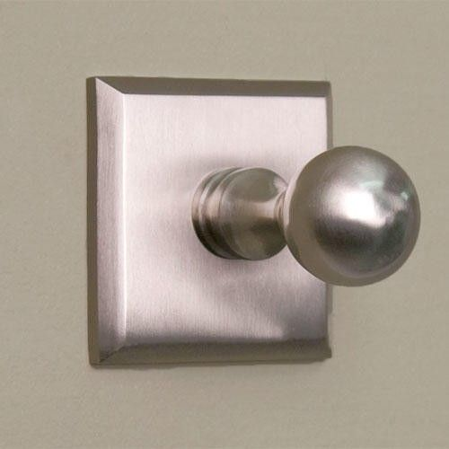 Solid+Brass+Robe+Hook+with+Square+Base+-+Brushed+Nickel