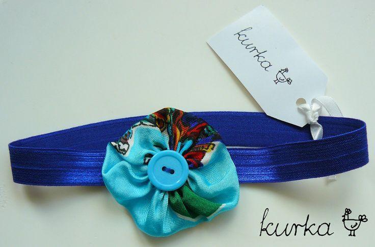 opaska handmade by kurka - turkusowy kwiat