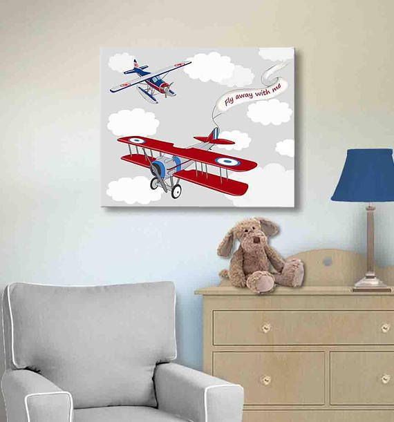 Airplane Art Nursery Decor Wall Art At Muralmax Transportation Aviation Themed Art For Boys Galle Vintage Airplane Wall Art Airplane Wall Art Kids Room Art