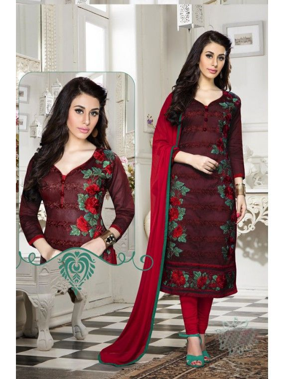 Exquisite Blood Red Embroidered Salwar suit