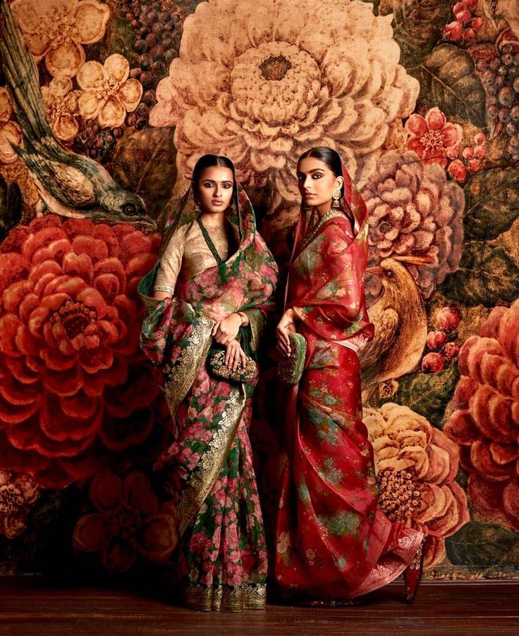 Sabyasachi. Hand Printed Organza Saris with Vintage Brocade Sari Borders.