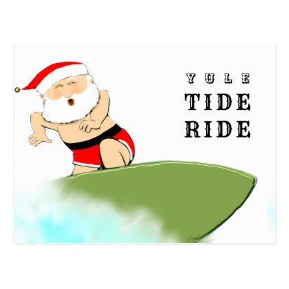surfing Christmas greeting Postcard - merry christmas postcards postal family xmas card holidays diy personalize