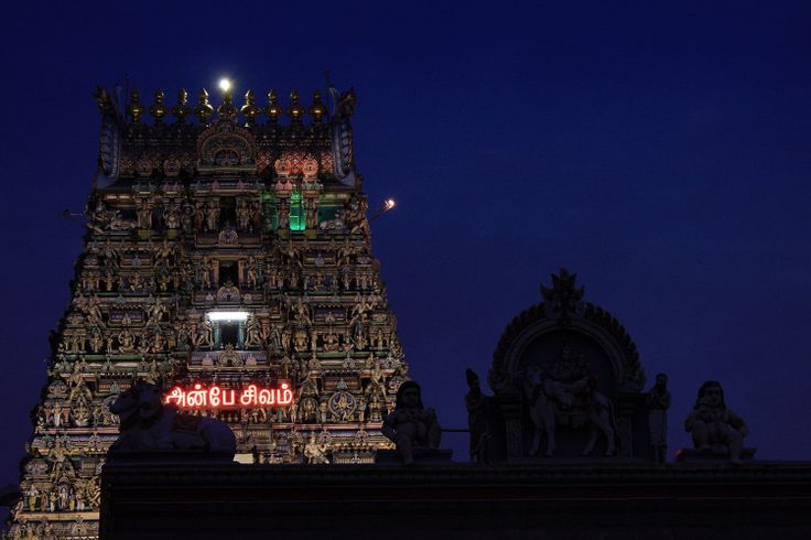 Gopurams after dark at the Kalapeeshwar Temple, Chennai. Image by Vinoth Chandar / CC BY 2.0.