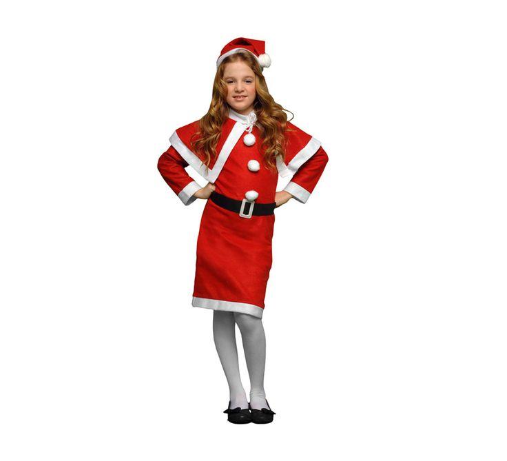 Disfraz de Mama Noel niña para Navidad. Talla de 4 a 6 años. Incluye gorro, vestido, cinturón y capelina.