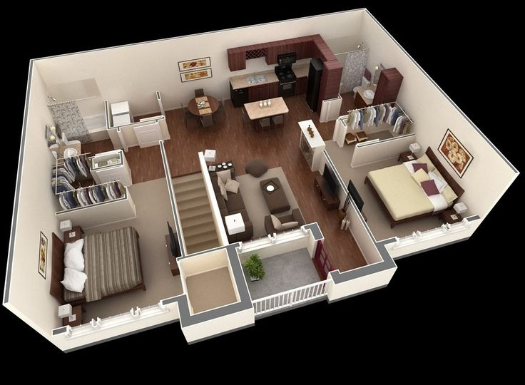Best 25 2 bedroom apartments ideas on pinterest 3d for Studio apartment ideas for couples
