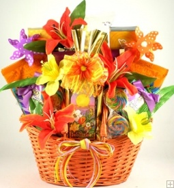 Pretty Easter gift basket, comes in Orange, Yellow, or Purple Baskets. Order early as they do sell out.