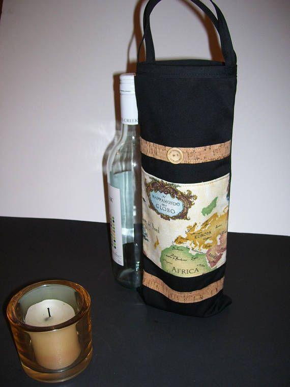 WINE GIFT BGAG  map wine gift bag  map wine tote  map wine