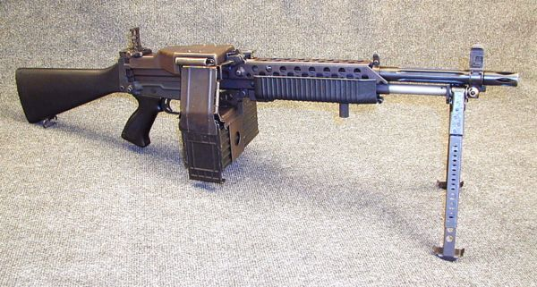 Stoner 63A weapon in Commando light machine gun configuration.