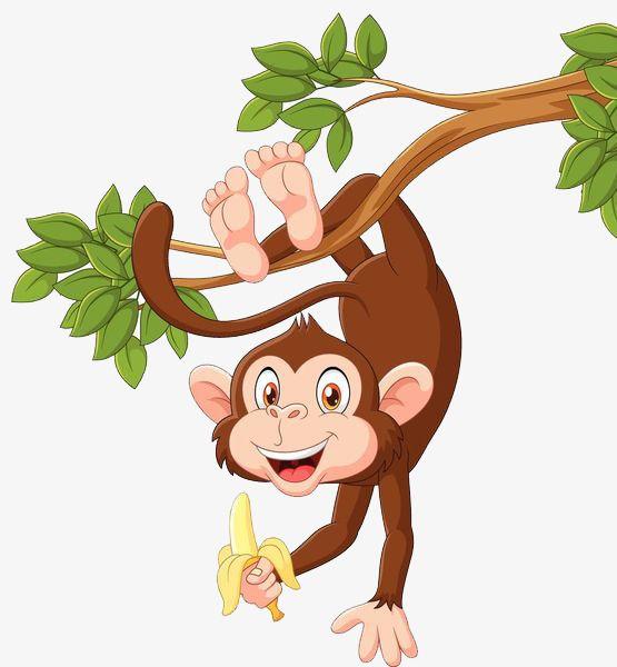 Monkey upside down. Hang on the tree