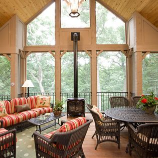 Wood burning stove home design ideas renovations photos for Wood burning stove for screened porch