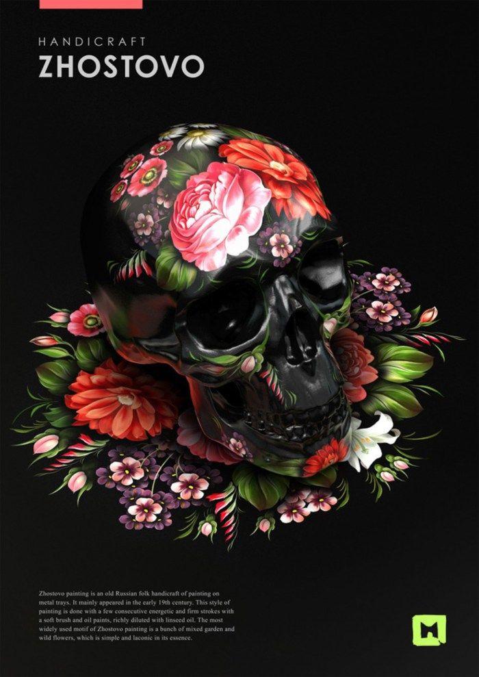 A bela arte popular russa sobre crânios ornamentados stylo urbano-2