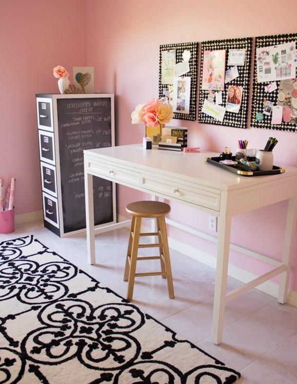 Great Home Office Paint Colors   #HomeOffice Decoration Ideas, Cute Pink