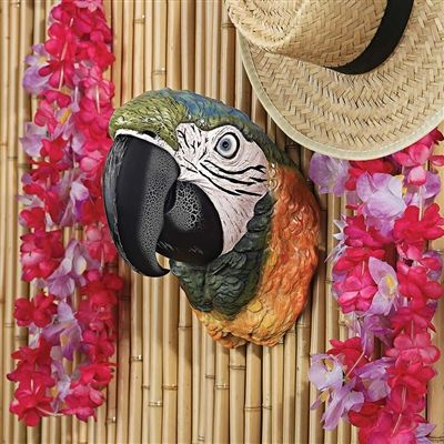 Paradise Parrot Head Wall Sculpture. Our rainbow hued Parrot Head wall trophy will make you want to raise a Margarita to celebrate happy hour on Coconut Beach, show your Caribbean soul, welcome guests with true aloha spirit, or toast the Tiki bar! #parrot #tropical #sculpture