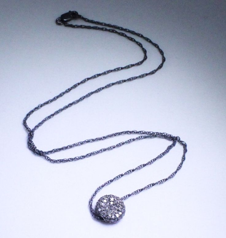 Pavé Diamond Necklace Round Pendant Necklace Genuine Diamond Necklace Oxidized Silver April Birthstone Real Diamond Necklace PD-N-103-os by elizabethlydonstudio on Etsy https://www.etsy.com/listing/98283964/pave-diamond-necklace-round-pendant