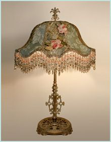 """Vintage table lamp with floral shade with hanging bead trim - I just discovered the boards of Christie Repasy, a floral painter, through another pinner.  If you follow me, or like """"pretties"""", I think you'd  enjoy looking at or following some or all of her boards - I think she did the """"footlong"""" paintings of roses that were often featured in Victoria magazine"""