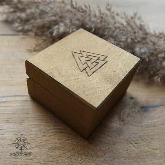 Valknut rune box gold Odin rune chest Viking wooden box