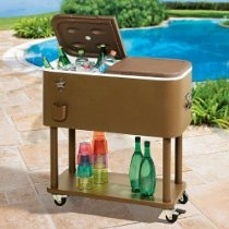 BrylaneHome Retro Cooler With Wheels (TAUPE,0)