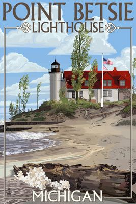 Point Betsie Lighthouse, Michigan - Lantern Press Poster #puremichigan