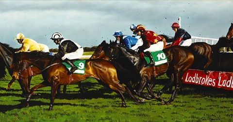 Grand National at Fairyhouse Co Meath oil on canvas from a few years back #horseracing #irishart #irishgrandnational #equineart #horses #meath #fairyhouse #artgallery #steeplechasing