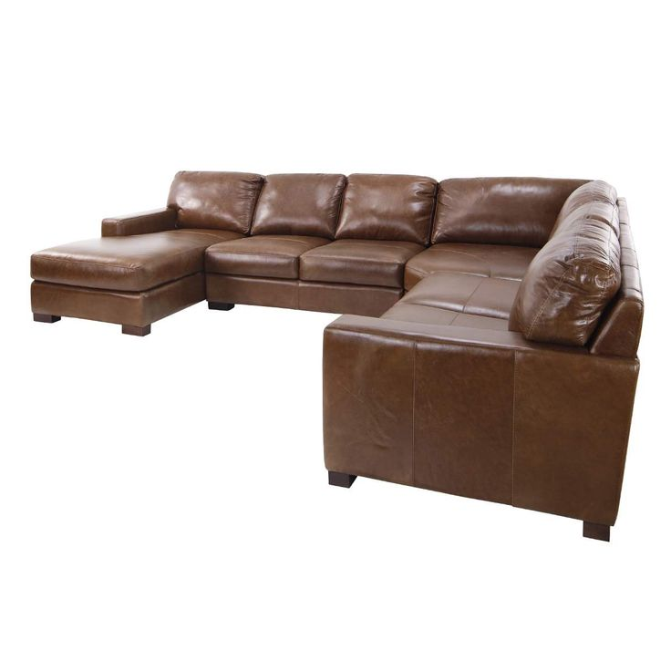 Brown Leather Sectional | Large Sectional with Chaise ...