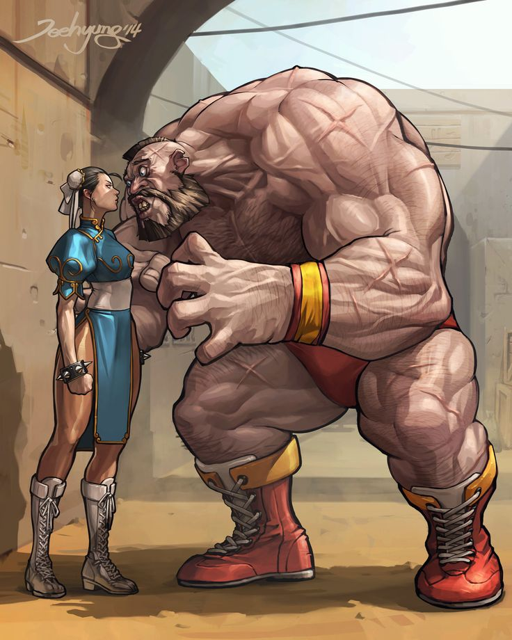 zangief vs chun-li, JeeHyung lee on ArtStation at https://www.artstation.com/artwork/JD83Z